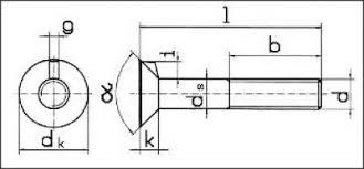 Болт <b>мебельный с потайной</b> головкой и усом DIN 604.Крепеж ...