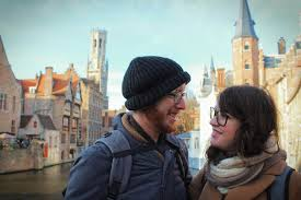 r tic bruges adorable things to do in bruges in winter a r tic selfie in front of the rozenhoedkaai in brugges in the winter