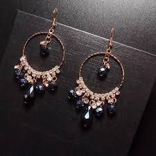 <b>Luxury Rhinestone Big</b> Size Jewelry Fashion Blue <b>Crystal</b> Hoop ...