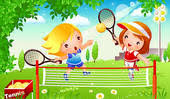 Image result for girls playing tennis cartoon
