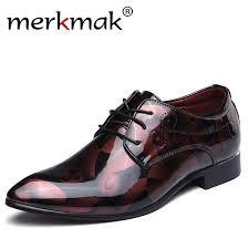 <b>Merkmak</b> Large Size 38 48 <b>Designer</b> Men Print Dress Shoes Patent ...