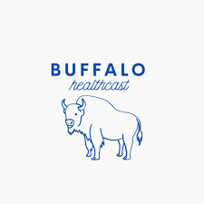 Podcast logo; white square with line drawing of a buffalo in blue and text reading Buffalo Healthcast in blue