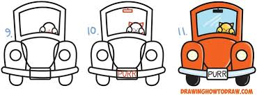 How to Draw <b>Cute Cartoon</b> Cat Driving a <b>Car</b> from Exclamation ...