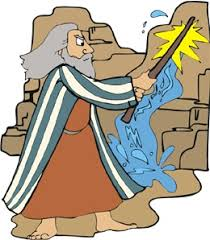 Image result for caricature of moses striking the rock to obtain water