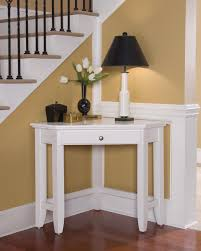 decoration white wooden corner desk for small space with lamp and flower vase design ideas beautiful corner desks furniture