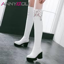 <b>ANNYMOLI</b> Winter <b>Thigh</b> High Boots Women Zipper Platform ...
