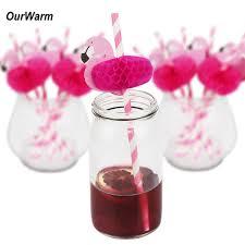 OurWarm <b>12PCS Flamingo</b> Paper Drinking Straws Hawaiian Luau ...
