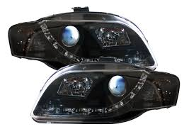 Audi A4:B7: 8EC: 8ED (05-08) Black DRL Headlights