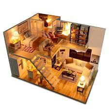 Assemble <b>DIY Wooden</b> House <b>Dollhouse</b> kit <b>Wooden Miniature</b> Doll ...