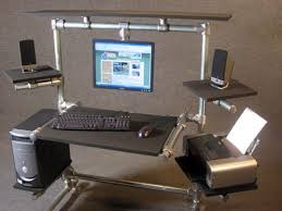 diy desk featured on ron hazeltons housecalls love the hanging monitor amazing diy office desk