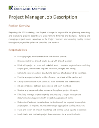 project manager job description sample inspirenow digital project manager job descriptiondigital project manager job description social media marketing webinars craigslist milwaukee jobs