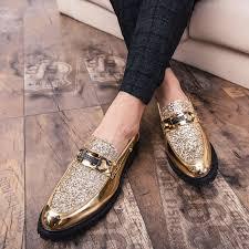 <b>2020 British Style</b> Fashion Gold Glossy <b>Men</b> Shoes Hot Sale Leather ...
