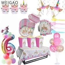 WEIGAO <b>Unicorn Birthday Decor Unicorn Party Disposable</b> ...