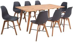 vidaXL <b>Nine Piece Solid</b> Acacia Wooden Dining Set Table and ...