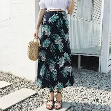 Casual High Waist <b>summer bohemian</b> Floral <b>Long Skirt</b> retro ...