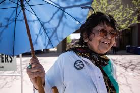 dolores huerta headlines twentieth annual c atilde copy sar ch atilde iexcl vez day sylviana datildeshyaz d ouville proudly marks herself as a union thug