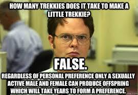 How many trekkies does it take to make a little trekkie ... via Relatably.com