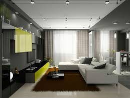 modern design with big white elegant sofa and blak carpet and many modern furniture in apartment apartments furniture