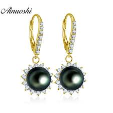 <b>AINUOSHI 10K Solid Yellow</b> Gold Pearl Drop Earring Natural Black ...
