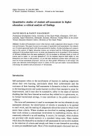 quantitative studies of student self assessment in higher quantitative studies of student self assessment in higher education a critical analysis of findings