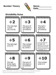 Divisibility Rules  These printable PDF worksheets will help your students learn the divisibility rules for numbers You will also receive four activities to