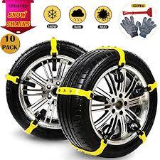 Snow Chains 10 Pcs Anti Slip Tire Chains Adjustable ... - Amazon.com