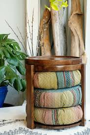 RHODA Round <b>Mango</b> Wood <b>Bohemian</b> Chic Side Tea Table ...