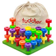 Tuddler Brightly Colored Stackable Pegs and <b>Peg Board</b> Set ...
