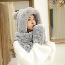 ZDFURS*Autumn and winter hat female plush thick double layer ...
