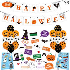 【YR】<b>Halloween</b> decoration flag pull banner <b>skull</b> tombstone cake ...