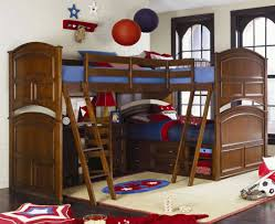 traditional l shaped tripe bunk bed with desk and double ladder having storage drawers und shelves childrens bunk bed desk full
