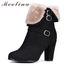 <b>Meotina Winter Ankle Boots</b> for Women Fur Buckle High Heels Boots ...