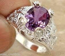 Platinum Plated SWA ELEMENTS Austrian Crystal Purple <b>Flower</b> ...