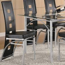 coaster furniture 101682 los feliz metal dining chair in silver with black fabric set of black and silver furniture