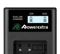 2 <b>аккумулятора</b> + зарядное устройство <b>Powerextra LP</b>-<b>E17</b>