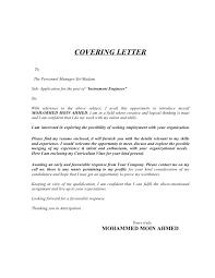 instrument technician cover letter template mechanical technician cover letter