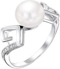 Серебряное кольцо <b>De Fleur</b> 51382S1 с жемчугом, фианитами ...