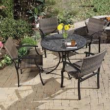 patio dining: home styles stone harbor  piece slate stone patio dining set