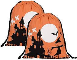TOPBATHY 2pcs Orange <b>Castle Pattern Halloween</b> Drawstring Bag ...