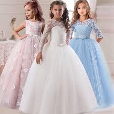 Flower <b>Girl's</b> Birthday Banquet Long Sleeve Lace Stitching <b>Dress</b> ...