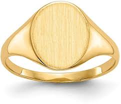 Solid 14k Yellow Gold Signet Engravable Plate Ring ... - Amazon.com