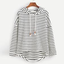 <b>2017 Womens</b> Stripe Hoodie Loose hoodies Hooded kpop Long ...