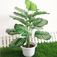 artificial plants rohdea 18leaves fake flowers foliage wedding home office decor artificial plants for office decor