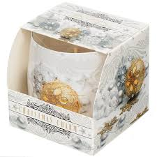 <b>Свеча декоративная</b>, <b>8х7.5 см</b>, Снежные мечты, в стакане ...