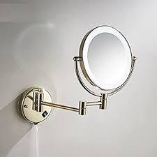 Ohcde Dheark <b>Golden Brass Led</b> Light Makeup Mirrors Round Dual ...