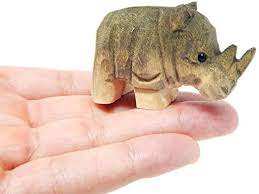 "Small 2"" <b>Wooden Rhino</b> Figure - Carving, Hand-Made, <b>Decoration</b> ..."