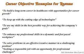 sample career objectives examples for resumes good objectives in a resume