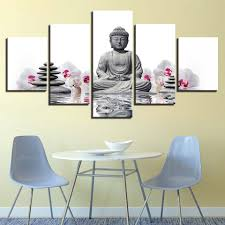 Art Prints <b>Wall Fashion</b> Modern Canvas Artwork 5 Panel <b>Buddha</b> ...