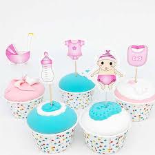 12/<b>20pcs</b> Baby Shower Cupcake Toppers <b>Boy</b> Girl Christening Blue ...