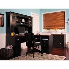 bush cabot l shaped desk with hutch in black with drawer and computer set plus black bush desk hutch office